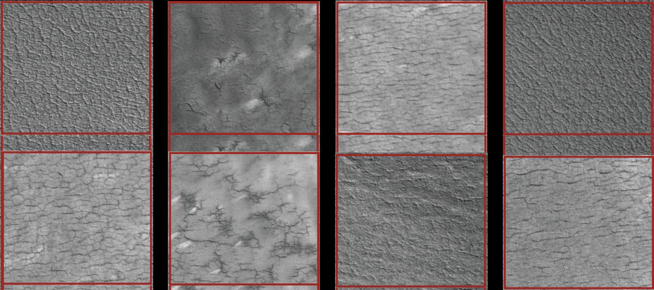 Image de canals sur Mars tirée d'un projet de science citoyenne pour la reconnaissance de son contenu: le cerveau numérique n'arrive pas encore à donner du sens à ce qu'il voit, alors que le cerveau humain reste incontournable pour ce type de tâches.